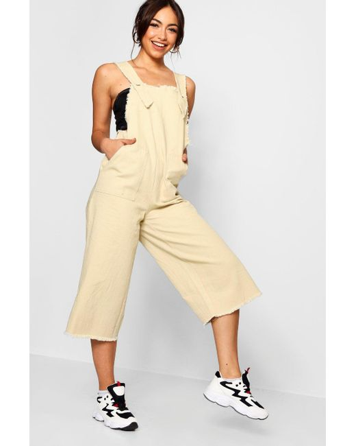 be18565f5d Boohoo - Natural Side Tab Fray Edge Cropped Denim Jumpsuit - Lyst ...