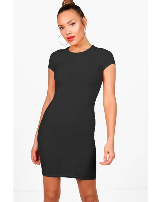 b0cb1dbf860 Boohoo - Black Ribbed Cap Sleeved Bodycon Dress - Lyst ...