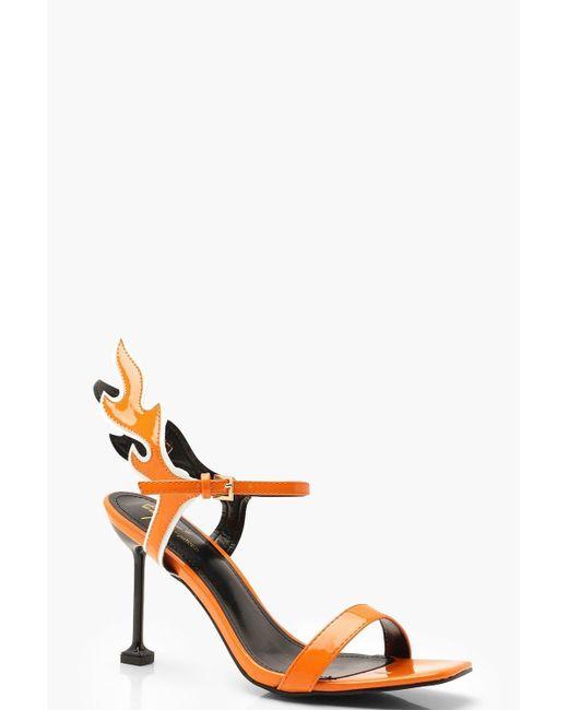 822d94457bb1 Boohoo - Orange Flames Interest Heel 2 Parts - Lyst ...