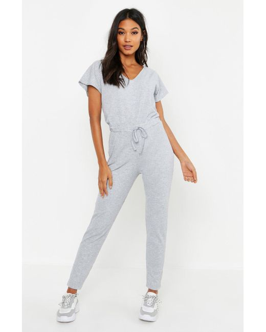 e38ab0d1508 Boohoo - Gray Ribbed Slouch Tie Jumpsuit - Lyst ...