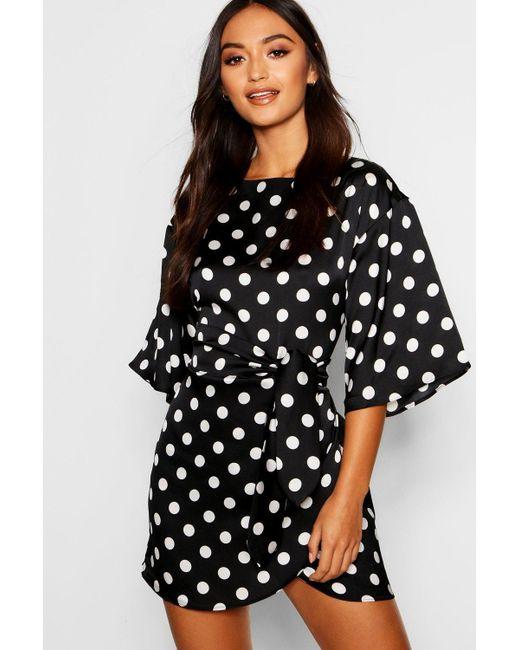 20dc4f7060f71 Boohoo - Black Petite Kimono Sleeve Wrap Midi Dress - Lyst ...