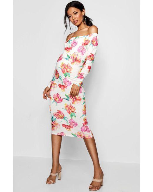 55796247f2d Boohoo - White Maternity Floral Bardot Midi Dress - Lyst ...
