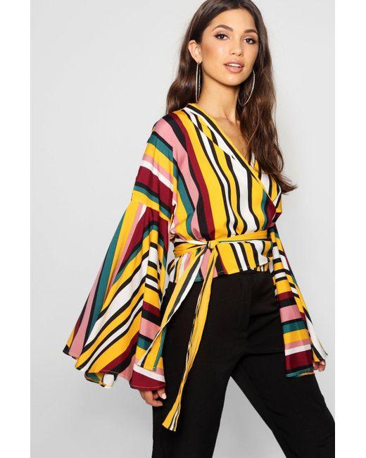 7e744a136548a Boohoo - Multicolor Kelly Stripe Extreme Kimono Wrap Crop - Lyst ...