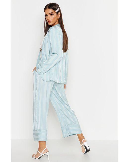 0843431f62a8 ... Boohoo - Blue Satin Stripe Wide Leg Trouser - Lyst