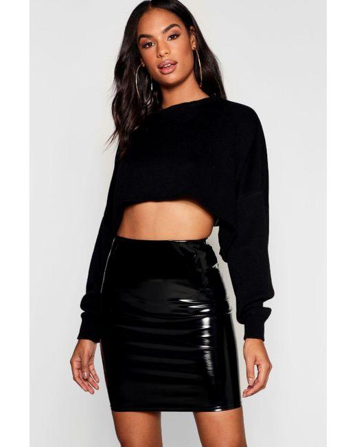 Boohoo - Black Tall Vinyl Mini Skirt - Lyst ... 0ca6c4c1f