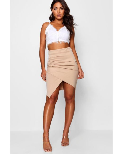 Boohoo - Pink Rouched Side Asymetric Skirt - Lyst