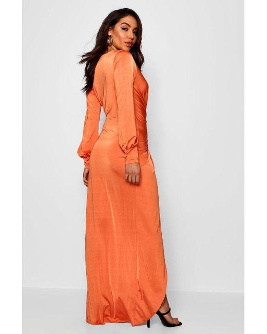 97d128f9861f ... Boohoo - Black Daria Twist Front Plunge Slinky Maxi Dress - Lyst