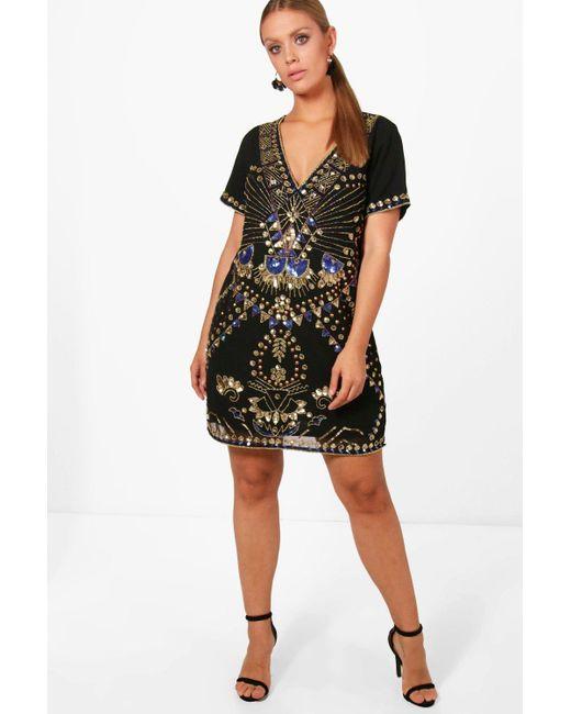 d219f7462b22 Boohoo - Black Plus Sequin Shift Dress - Lyst ...