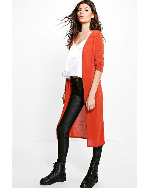 Boohoo Maisie Fine Knit Maxi Cardigan in Orange | Lyst