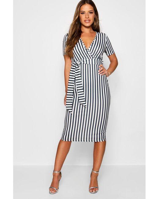 5a6bfd31a499 Lyst - Boohoo Petite Stripe Wrap Tie Midi Dress in Black - Save 14%
