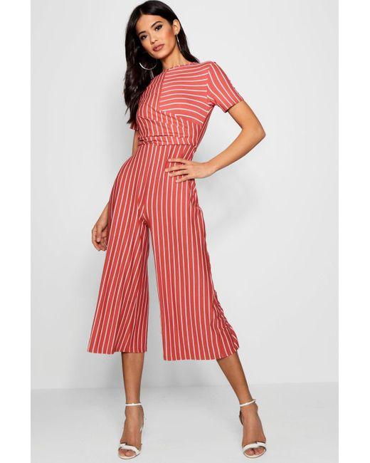 cc908ad150b Boohoo - Red Striped Wrap Culotte Jumpsuit - Lyst ...