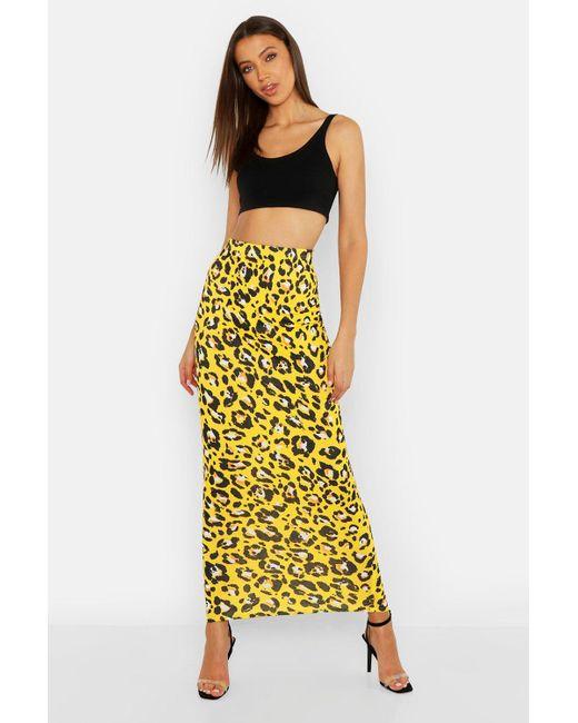 b7ad28e1f33cf Boohoo - Yellow Tall Leopard Print Maxi Skirt - Lyst ...
