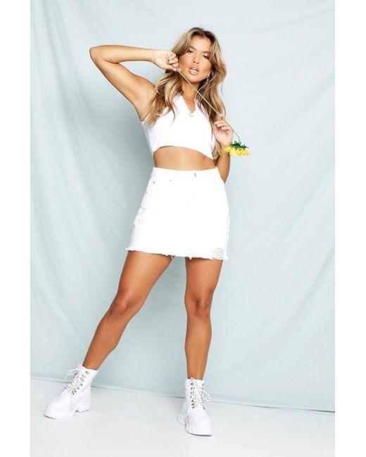 3daffcdc9 Boohoo - Multicolor Ecru Distressed Micro Mini Denim Skirt - Lyst ...
