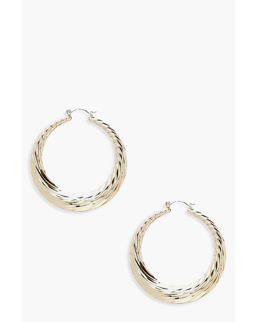 Boohoo - Metallic Chunky Ridged Hoop Earrings - Lyst
