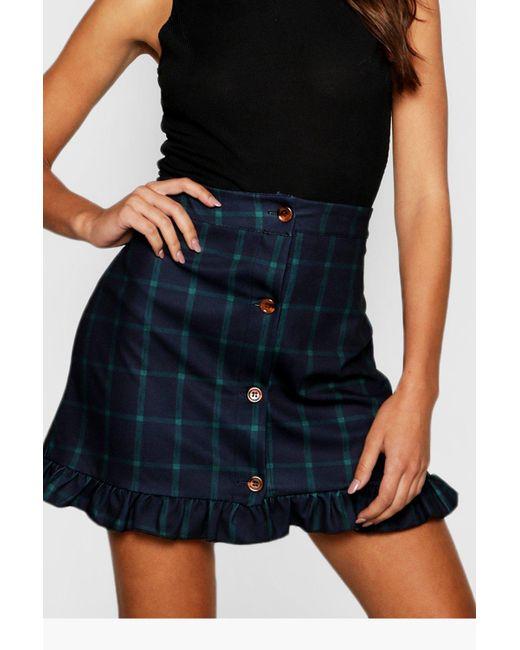 6c437d33af ... Boohoo - Blue Window Pane Check Horn Button Frill Skirt - Lyst