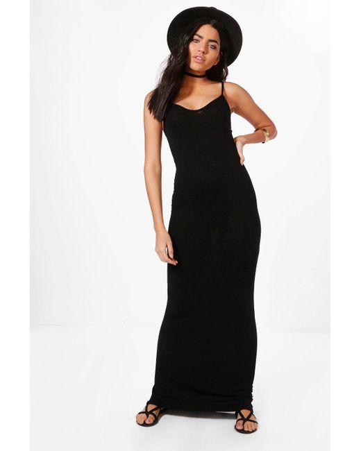 2ee8a503325db Boohoo - Black Basic Strappy Maxi Dress - Lyst ...