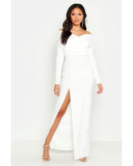 2989968568b2 Boohoo - White Tall Off The Shoulder Thigh Split Maxi Dress - Lyst ...