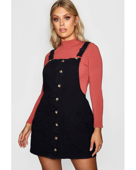 in Horn Pinafore Denim Boohoo Dress Button Lyst Plus Black 6b7yfYg