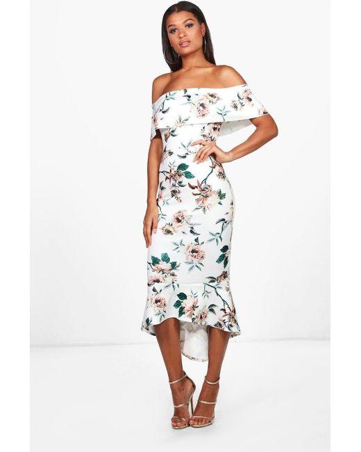43ced57233ae Boohoo - Multicolor Floral Bardot Frill Hem Midi Dress - Lyst ...