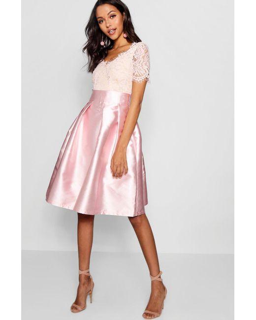 e0574b9985 Boohoo - Pink Boutique Eyelash Lace Skater Dress - Lyst ...