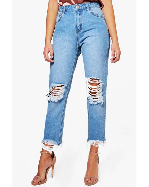 Boohoo | Blue Hatty High Rise Destroyed Hem Boyfriend Jeans | Lyst