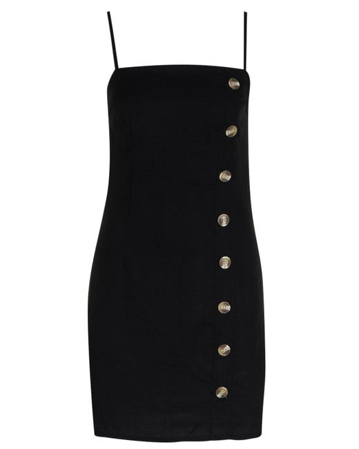 088fb92ce1 ... Boohoo - Black Mock Horn Button Linen Mini Dress - Lyst