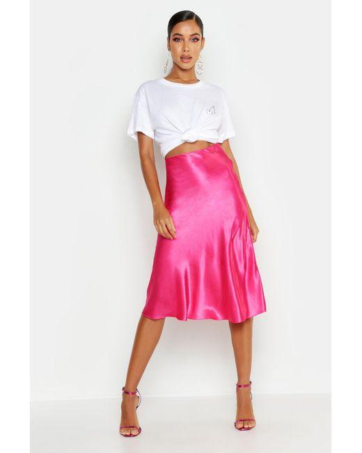 5fa0e09fac Boohoo - Pink Satin Bias Cut Slip Midi Skirt - Lyst ...