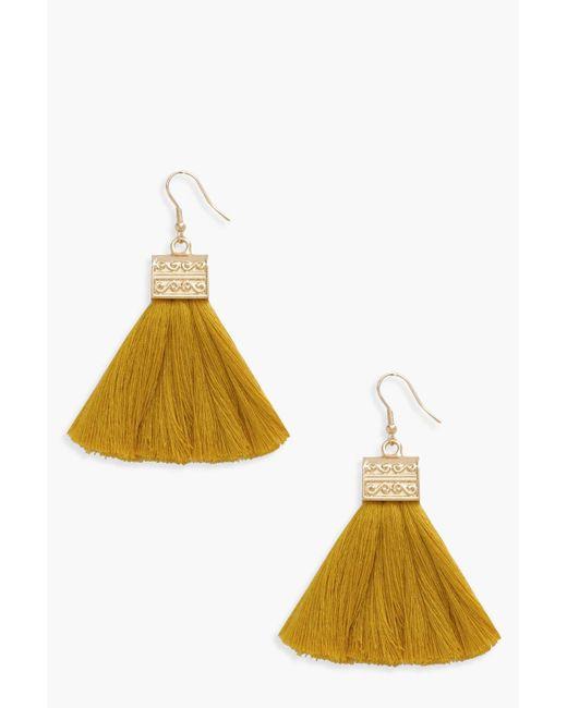 Boohoo - Yellow Engraved Detail Tassel Fringe Earrings - Lyst