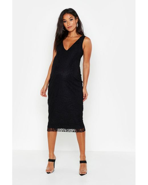c0b672129b18 Boohoo - Black Maternity Plunge Lace Midi Bodycon Dress - Lyst ...