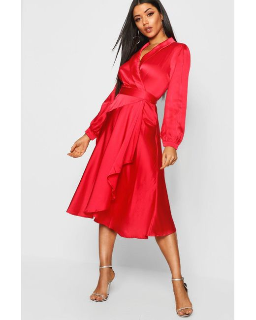 87b15484416 Boohoo - Red Satin Wrap Detail Midi Skater Dress - Lyst ...