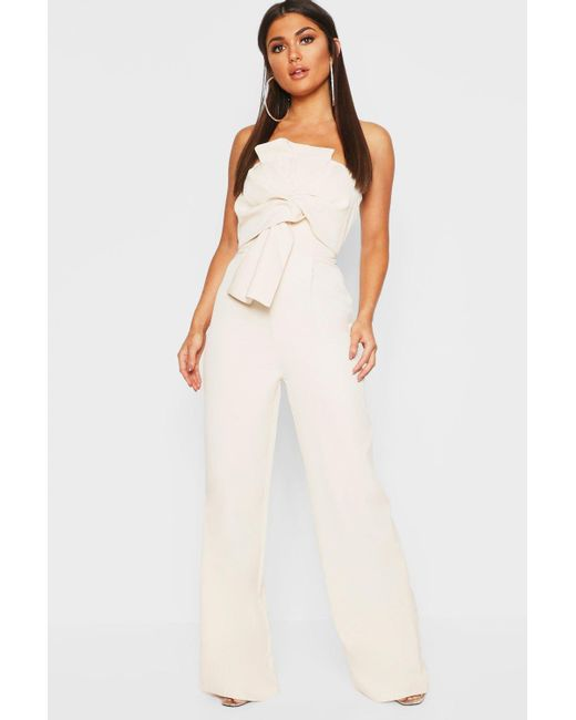 3f252ae1aee Boohoo - White Boutique Bow Front Jumpsuit - Lyst ...