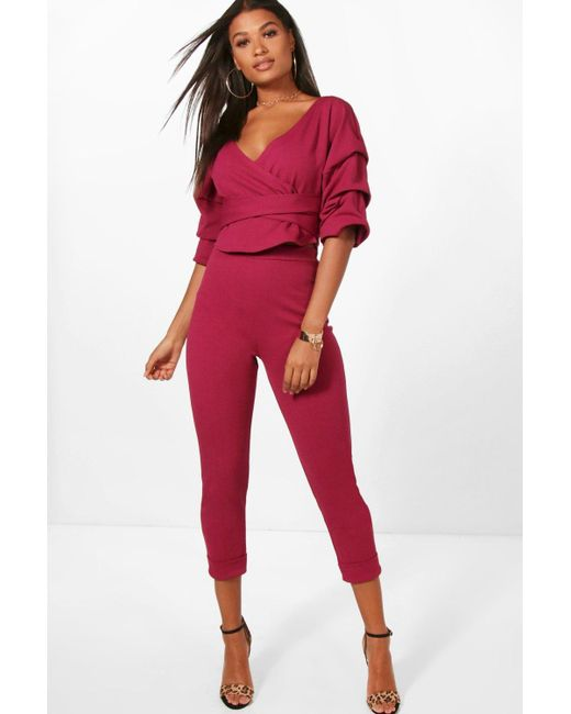 Boohoo Wrap Rouche Top   Pants Co-ord Set in Red - Lyst d8204b440041