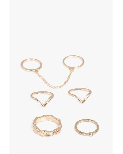 Boohoo | Metallic Lara Gold Mixed Chain Detail 5 Ring Set | Lyst