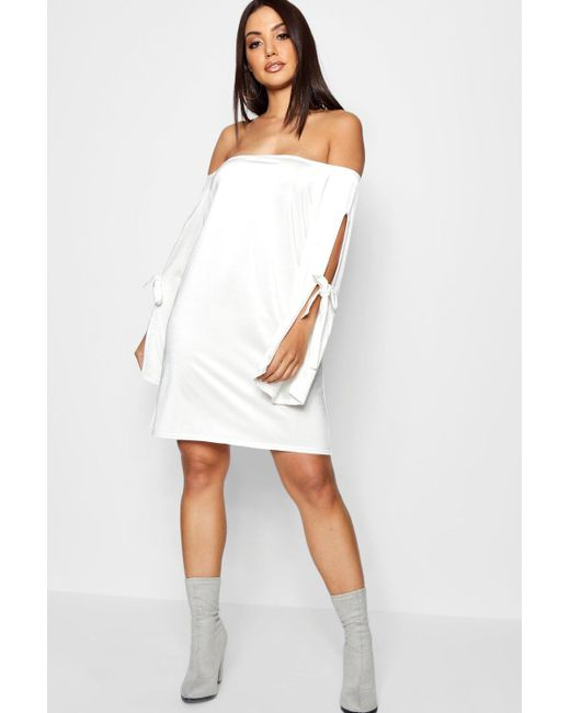 be0dd79a04d2 Boohoo - Multicolor Off Shoulder Sleeve Detail Swing Dress - Lyst ...