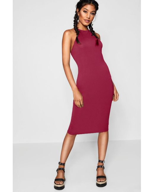 a1a333784ee7 Boohoo - Red Basic 90s Neck Midi Dress - Lyst ...