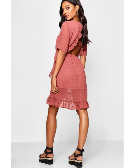683f7f48db87 Boohoo - Pink Dobby Chiffon Backless Ruffle Tea Dress - Lyst ...