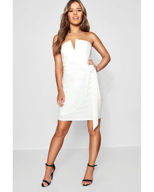 be3d290cddc2 Boohoo - White Petite V-bar Detail Wrap Tie Mini Dress - Lyst ...