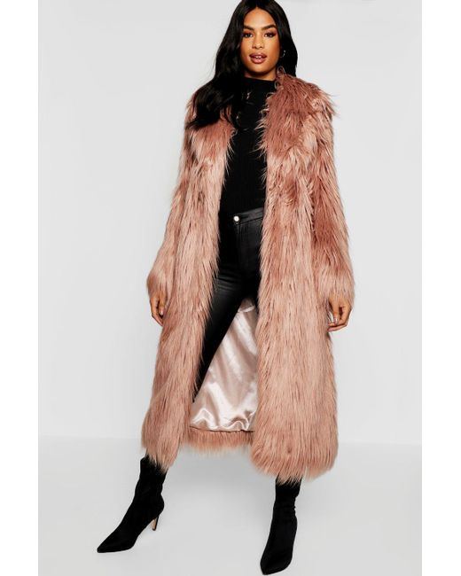 666af8dbe4b22 Boohoo - Pink Tall Boutique Maxi Faux Fur Coat - Lyst ...