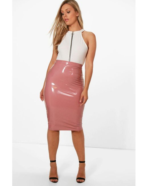 Boohoo | Pink Plus Lauren High Shine Pu Midi Skirt | Lyst
