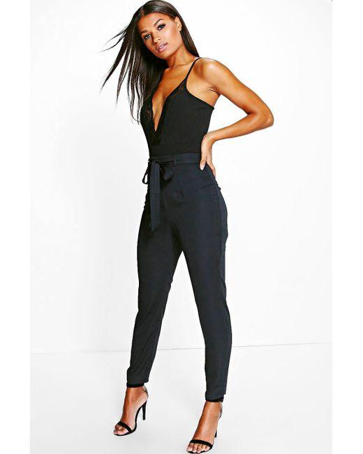 Boohoo - Black Luna Tie Waist Woven Satin Slimline Trousers - Lyst