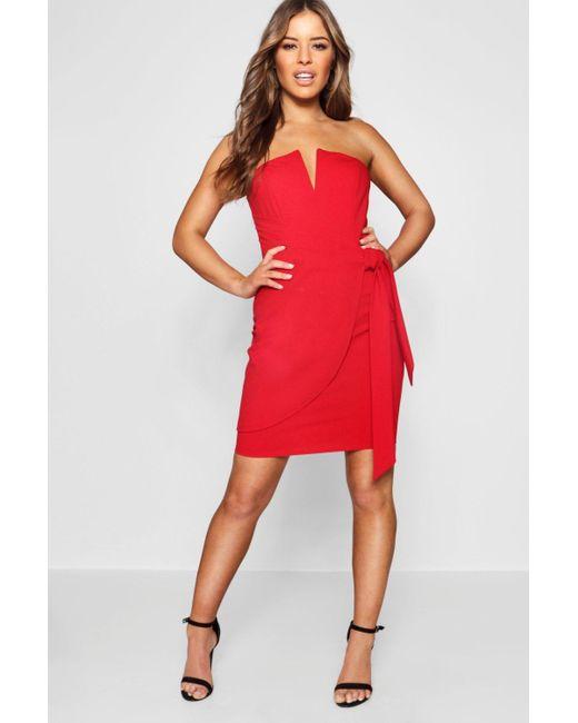 cfe318923c Boohoo - Red Petite V-bar Detail Wrap Tie Mini Dress - Lyst ...