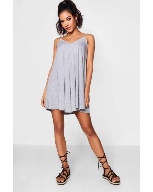 ea165f917233 Boohoo - Gray Evron Basic V Neck Swing Dress - Lyst ...