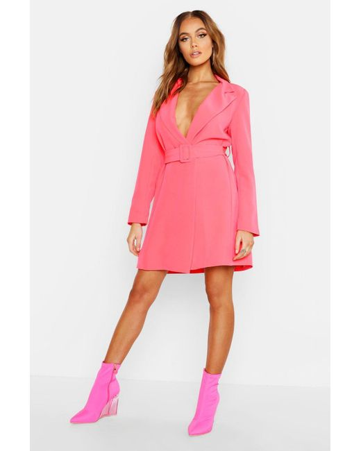 62bcd0f532c7d Boohoo - Pink Neon Belted Blazer Dress - Lyst ...