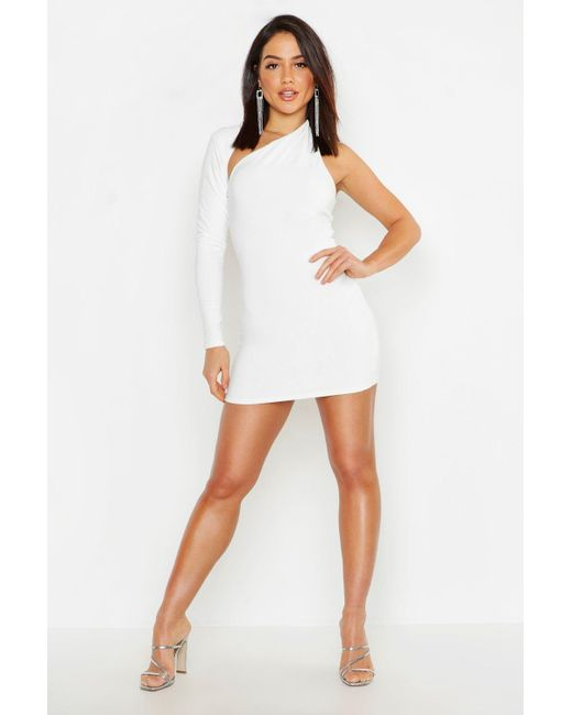 6810220292840 Boohoo - White Double Slinky One Shoulder Bodycon Dress - Lyst ...