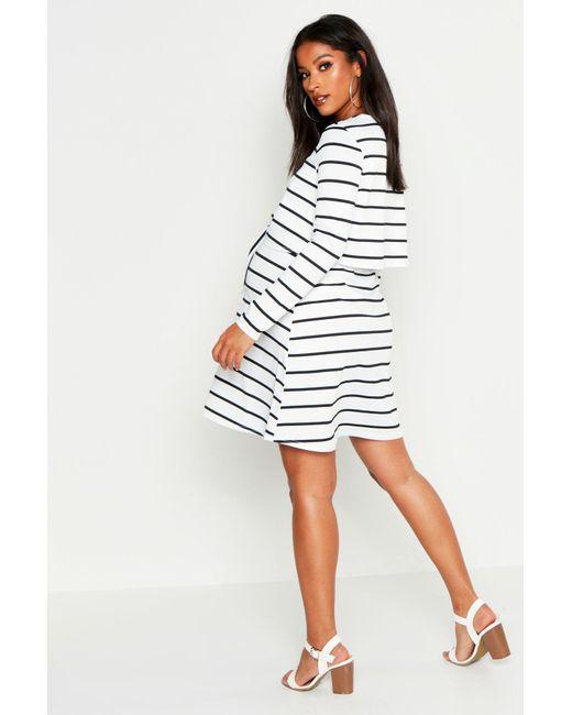 60cd03c04e76f ... Boohoo - Multicolor Maternity Nursing Knot Front Stripe Dress - Lyst