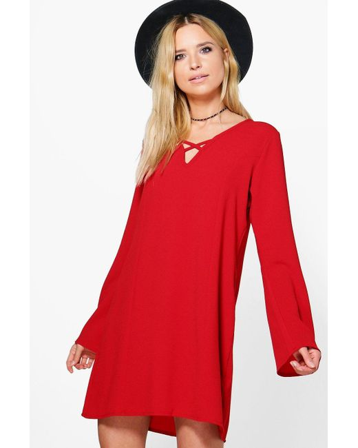 Boohoo | Red Lecricia V Front Shift Dress | Lyst