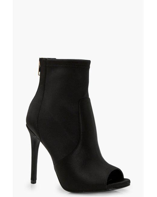 Boohoo - Black Nadia Peeptoe Satin Sock Boot - Lyst