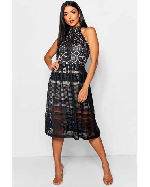 cbb884b4495 Boohoo - Black Felicity Lace High Neck Midi Skater Dress - Lyst ...
