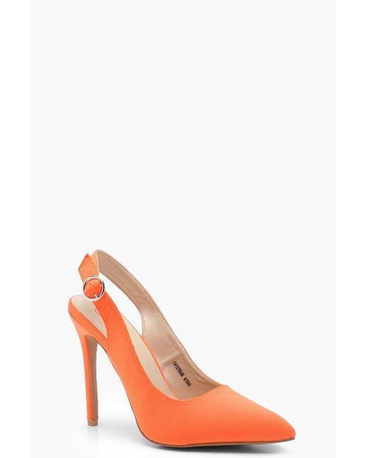 Boohoo - Orange Sling Back Pointed Court Heels - Lyst