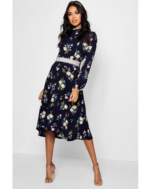 12efc54ddbd5 Boohoo - Blue Boutique Floral Long Sleeve Skater Dress - Lyst ...